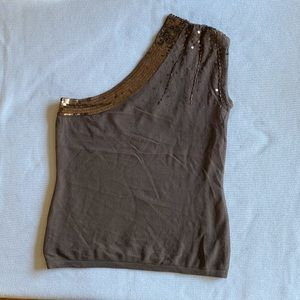Arden B. Brown Sequin One Shoulder Blouse
